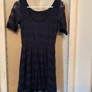 REWIND Scoop neck, Blue Lace Dress, Half Sleeves